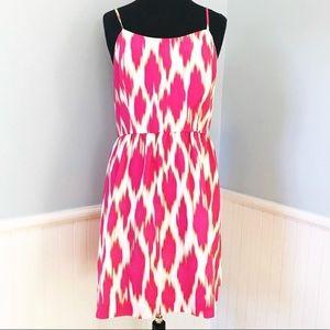 Kensie Bright Pink & White Ikat Print Dress
